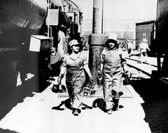 Unidentified female workers on the Union Pacific Railroad during World War II. Women were employed as turntable operators, machinists, porters and conductors, and in other roles, but most left the railroads after the war ended.