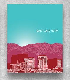 Salt Lake City Skyline Home Art Poster, Modern Decor Art Print / Any City or Location