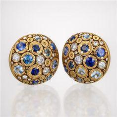 Alex Sepkus 21 mm Multi Gemstone Earrings - Blue Gemstones in 18k Gold