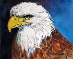 Bald Eagle Painting by Maria Barry - Bald Eagle Fine Art Prints and Posters for Sale
