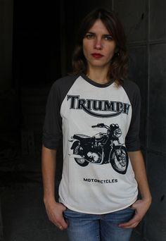 Retro Motorcycle Baseball Tshirt Unisex / Womens 3/4 by Gelada, $33.00