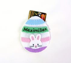 Easter egg gift card holder perfect for a candy free easter easter decoration easter ornament easter gift card holder personalized felt ornament easter egg ornament bunny rabbit negle Images