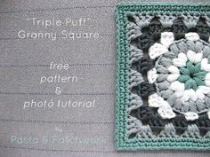 """Triple Puff"" Granny Square - Free Pattern & Tutorial Love the color combo"