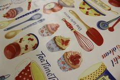 PVC Tea time treats Oilcloth Vinyl Tablecloth Wipe Easy 140CM Width