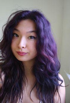 Splat! temporary luscious lavender on dark brown unbleached hair.
