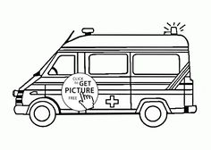 cute emergency ambulance car coloring page for kids ... - Ambulance Coloring Pages Print