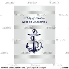 Nautical Blue Anchor Silver Wt BG V Wedding Card Elegant Nautical Navy Blue Anchor, Silvery White Background - Wedding Invitation Clean, elegant, chic and stylish customizable party accessories with a white background with silvery gradient stripes and a centered navy blue anchor. This product is part of a suite of matching designs that are easily customizable for many occasions and events.
