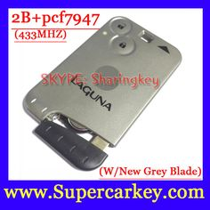 Free Shipping  (1pcs) Excellent Quality Grey Blade  2 Button Smart Card For Renault Laguna with pcf7947 Chip  433MHZ
