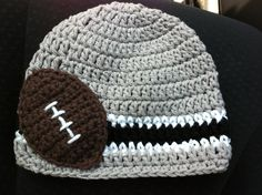 Crocheted Cotton Hat Inspired By Oakland Raiders' NFL Colors - Great Photo Prop. $17.99, via Etsy.