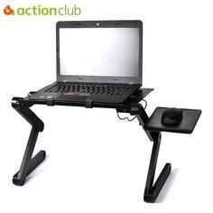 Laptop Desks 100% True Magic Union Aluminum Alloy Laptop Table Folding Notebook Desktop Stand With Cooling Fan Bed Laptop Tray Desk Study Desk Lovely Luster Office Furniture