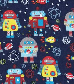 Snuggle Flannel Fabric-Space Robots