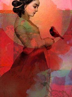 Lady in red by Catrin Welz-Stein in Portraits on .the art of catrin welz-stein Lady In Red, Red Art, Digital Artwork, Surreal Art, Figure Painting, Illustration Art, Art, Figurative Art, Beautiful Art