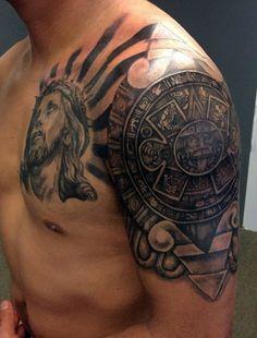 tribal-aztec-tattoo-for-men-on-upper-arm.jpg (426×560)