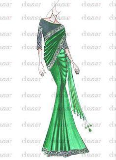 Latest EthnoVogue Fashion Dresses Online For Women's - Cbazaar Dress Design Drawing, Dress Drawing, Designer Sarees Online Shopping, Latest Designer Sarees, Fashion Illustration Dresses, Fashion Illustrations, Diy Fashion, Fashion Dresses, Fashion Sketchbook