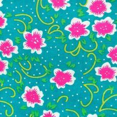 Tissu Petit Pan coton-fiora-turquoise