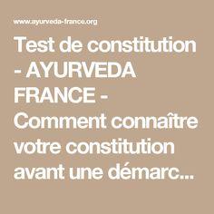 Test de constitution - AYURVEDA FRANCE - Comment connaître votre constitution avant une démarche(...)