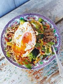 Hungover noodles make with buckwheat instead of egg noodles if desired, then add vegetables of your choice and a kick ass dressing topped with a runny fried egg!