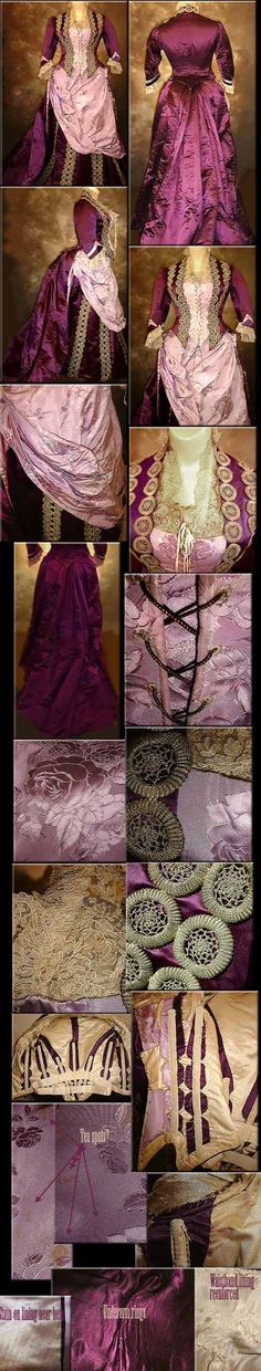 1888 reception gown. Another favourite gown, although a bit too ornate for my tastes. I do love the colour combinations, the assymetric drapery and the dorset buttons used as trim!