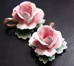 Vintage Capodimonte Italy Rose Taper Candle by pinkdandyshop, $40.00