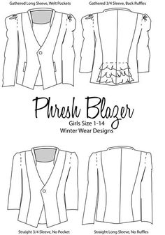 bcce67a0a4b Phresh Blazer for girls size 1-14. Petite ShortsCustom FabricPattern ...