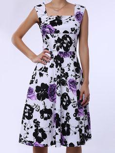 Retro Style Sleeveless Square Neck Flower Pattern Dress For Women