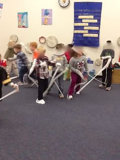 Mrs. V's Crazy Music Classroom - Pantyhose Dancing with Kindergarten.  Too much energy due to very little outside recess.
