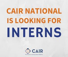 CAIR National is looking for Graphic Design Interns.   Learn more by clicking the image.   Email your application, resume, cover letter, and portfolio to: internship@cair.com