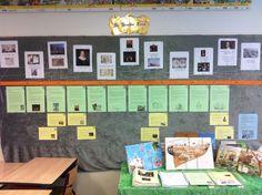 Themabord de Gouden Eeuw, met een tijdlijn, geschiedenisvensters en opdrachtkaarten. School 2017, Rembrandt, Teaching, Education, History, Europe, Art, Learning, History Books