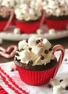 Peppermint Hot Cocoa Cupcake with mini-marshmallows, chocolate chips & crushed mints on top  Christmas