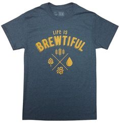 10oz Apparel Beer t shirt Life is Brewtiful XL Dark Heather