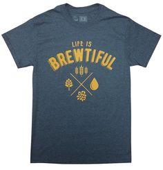 10oz Apparel Beer t shirt Life is Brewtiful XL Dark Heather