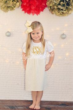 A personal favorite from my Etsy shop https://www.etsy.com/listing/258246956/girls-gold-dress-holiday-dress-cream