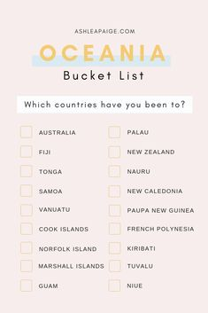 Oceania Bucket List