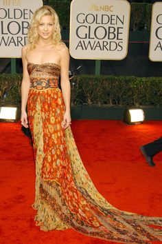 What: Valentino Where: Golden Globe Awards in 2003 Why: Hudson brought her bohemian spirit to the red carpet in this paisley print dream.   - HarpersBAZAAR.com
