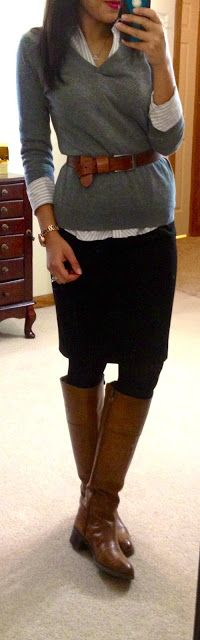 gray sweater, black skirt and tights, brown boots