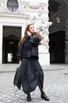This flowy fall designer skirt has a black colored zip, that you can fasten depending on the occasion. Wear this fashion skirt separately or style it with trousers or leggings in matching tones of black. For the perfect womens outfit. By ART POINT brand. #skirts_outfits #fall_skirts #striped_skirts #skirts_fashion #designer_skirts #skirt_styles #winter_skirt #flowy_skirt #casual_skirt_outfits #womens_skirt #stripped_skirts_outfit #fall_skirt_outfits