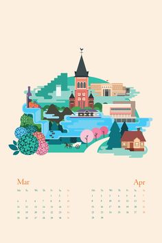 1735 km Calendar by Tu Bui, via Behance