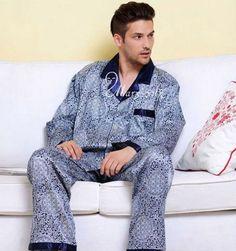 Mens Silk Satin Pajamas Pyjamas Sleepwear Set Loungewear S~4XL__XMAS Gifts