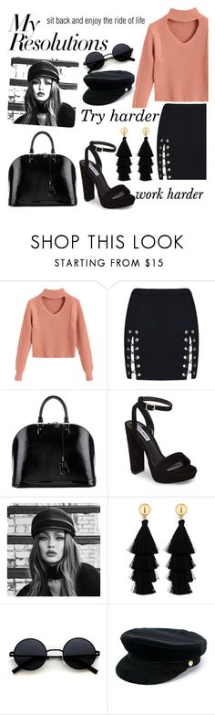 """""""#PolyPresents: New Year's Resolutions"""" by sophiarosefashionista ❤ liked on Polyvore featuring Louis Vuitton, Steve Madden, Maybelline, Red Herring, Manokhi, contestentry and polyPresents"""
