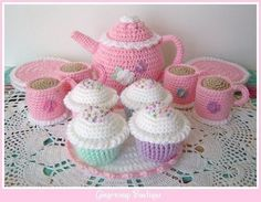 PDF Crochet Pattern  Tea Set by gingersnapboutique on Etsy