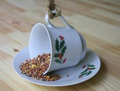 Bird Feeder Christmas Gift Repurposed Cup by StellasTreehouse