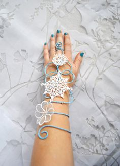 Snow queen snow flake arm cuff slave bracelet by InMyFairyGarden