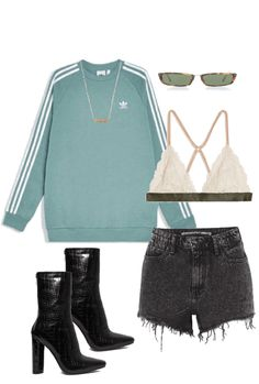 Discover outfit ideas for made with the shoplook outfit maker. How to wear ideas for Little Zodiac Pisces Necklace and Linda Farrow Rectangle-Frame Acetate Cute Edgy Outfits, Dope Outfits, Casual Outfits, Summer Outfits, Fashion Outfits, Womens Fashion, Mode Ulzzang, New York Outfits, College Outfits