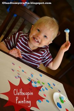 Clothespin Painting {Toddler Craft} - great for the kids with sensory issues