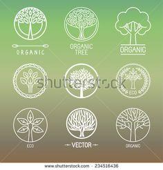 Vector tree logo - set of abstract organic design element - eco and bio circle badge