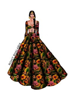 Dress Design Sketches, Fashion Design Drawings, Fashion Sketches, Art Sketches, Fashion Illustration Dresses, Fashion Illustrations, Fashion Drawing Dresses, Indian Designer Outfits, Designer Dresses