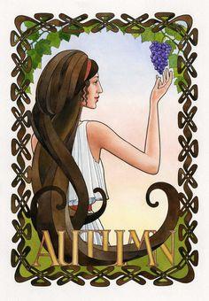 The Four Seasons II - Autumn. Goddess art, watercolor, painting, autumn decor, bathing, archival art print.