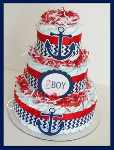 Nautical Diaper Cake, Nautical Baby Shower , Sailboat Theme, Baby Shower Decorations on Etsy, $49.99