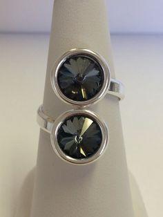 Bague réglable en argent 925 double cabochon Swarovski Element Crystal Silver Night (tons gris foncé) : Bague par manava-creation