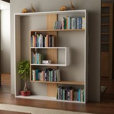 Bibliothèque Tesa - 6 rangements - Blanc et teck
